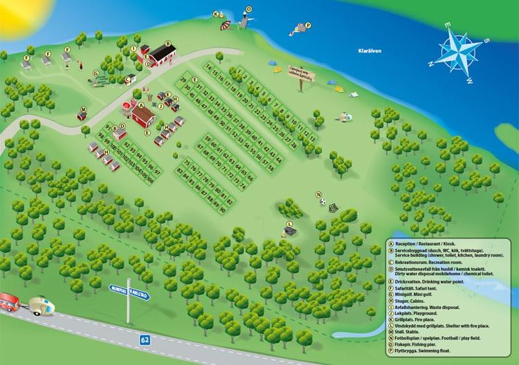 Glamping Storängens in Zweden plattegrond - Luxe camping vakantie in een Safari of Lodgetent boek nu bij www.luxetenthuren.nl