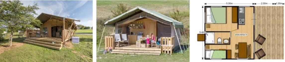 Luxe Tent Huren - Safaritent met sanitair - Glamping Vakantie Frankrijk