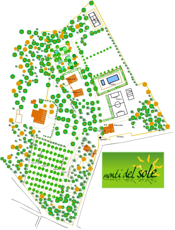 Camping Monti Del Sol plattegrond - Toscane, Umbria - Kleine Italiaanse Familiecamping Italie - www.LuxeTentHuren.nl