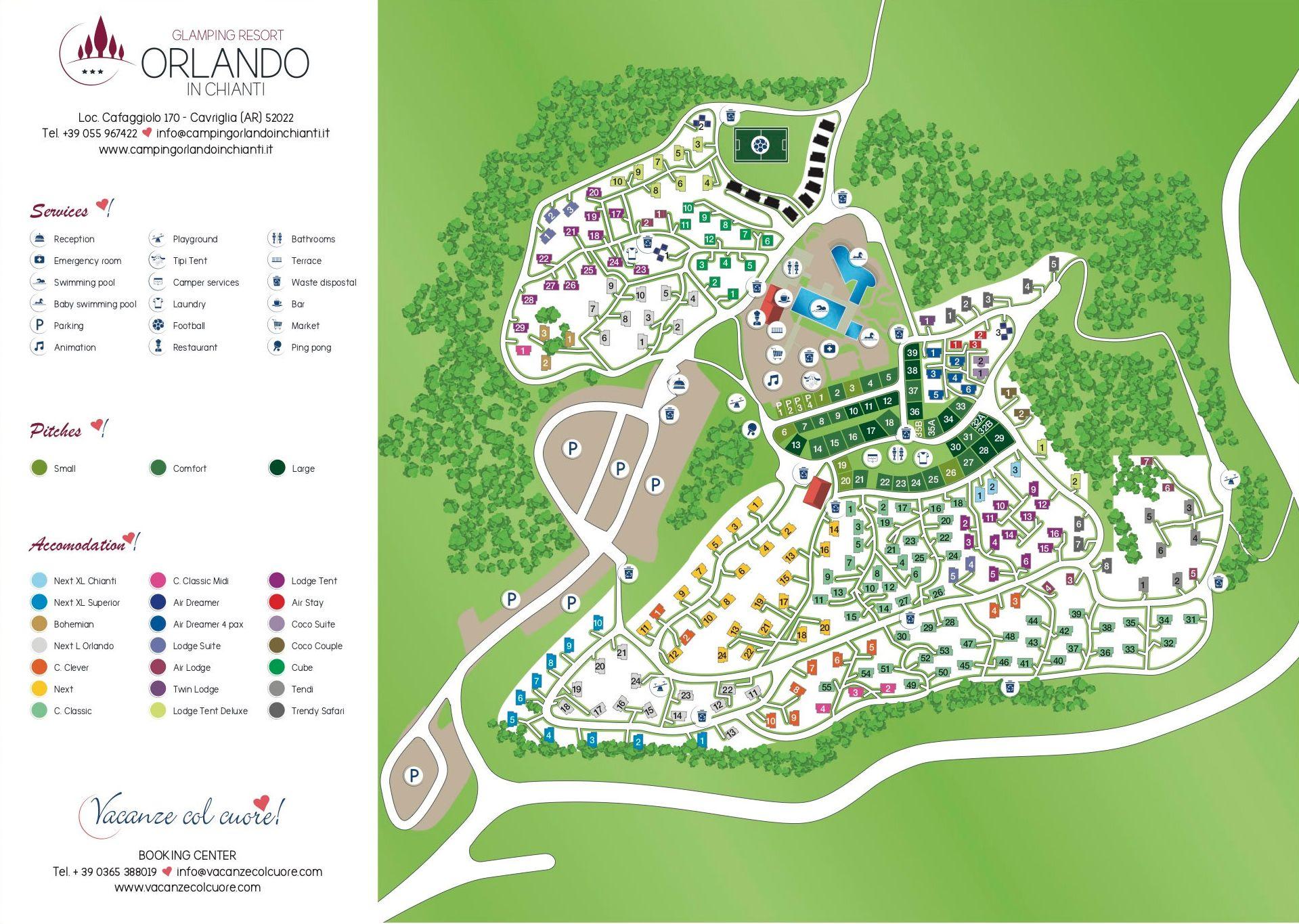 Camping Orlando Resort Chiant Italie plattegrond - Luxe Tent Huren in Toscane, boek nu - www.LuxeTentHuren.nl